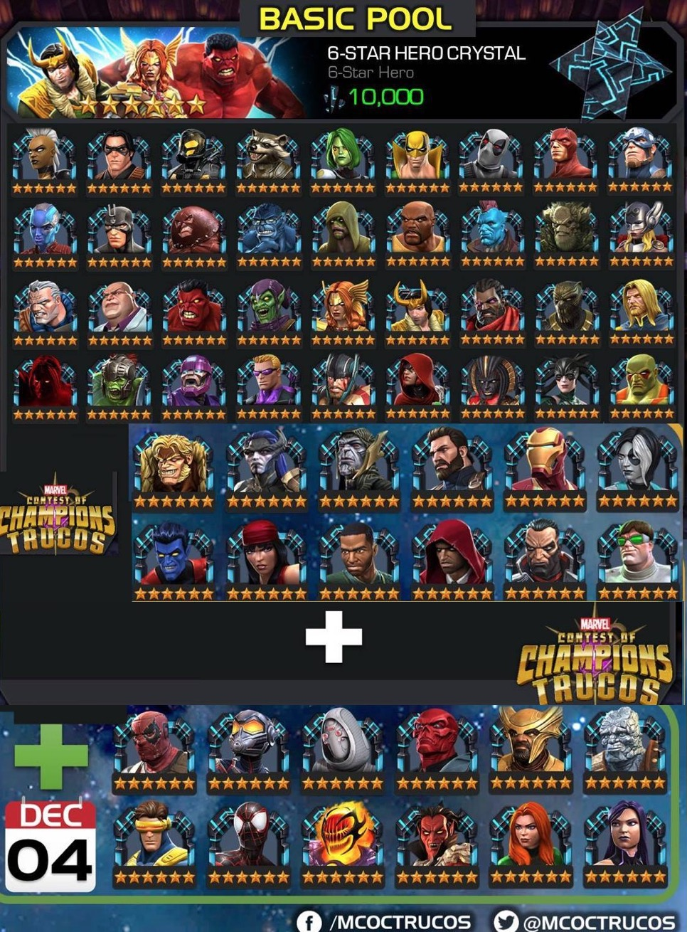 Available and Upcoming Champions in 6-Star Basic Pool