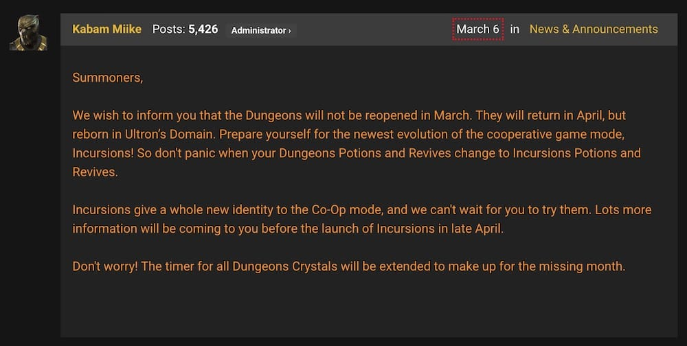 Dungeon closure